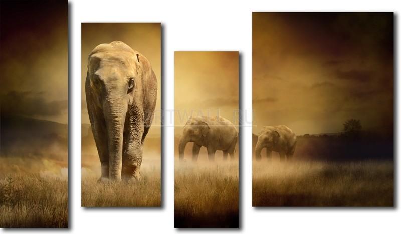 Модульная картина «Африканские слоны»Животные и птицы<br>Модульная картина на натуральном холсте и деревянном подрамнике. Подвес в комплекте. Трехслойная надежная упаковка. Доставим в любую точку России. Вам осталось только повесить картину на стену!<br>