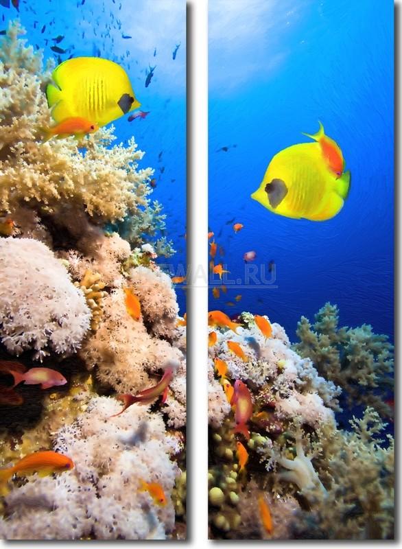 Модульная картина «Подводный мир»Животные и птицы<br>Модульная картина на натуральном холсте и деревянном подрамнике. Подвес в комплекте. Трехслойная надежная упаковка. Доставим в любую точку России. Вам осталось только повесить картину на стену!<br>