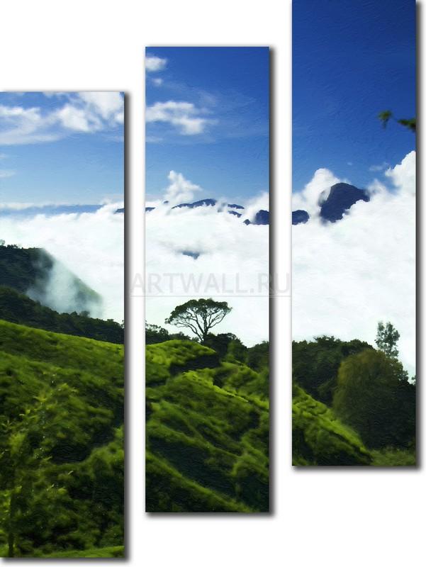 Модульная картина «Выше облаков»Природа<br>Модульная картина на натуральном холсте и деревянном подрамнике. Подвес в комплекте. Трехслойная надежная упаковка. Доставим в любую точку России. Вам осталось только повесить картину на стену!<br>