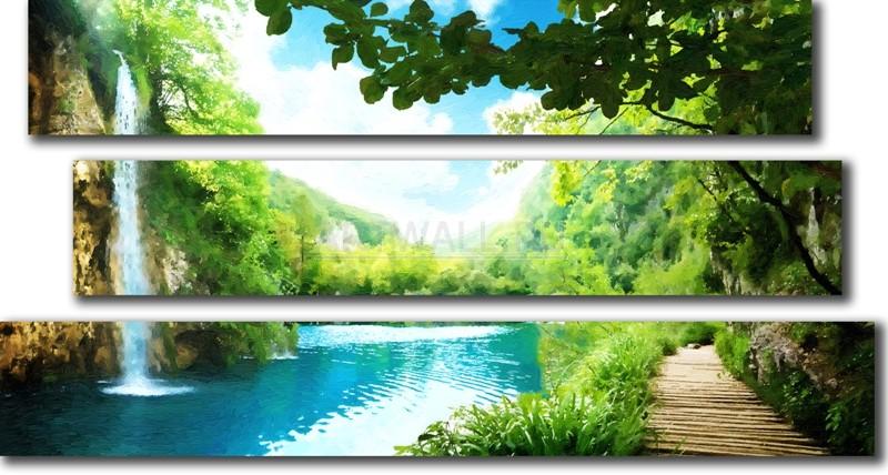 Модульная картина «Дорожка у водопада»Природа<br>Модульная картина на натуральном холсте и деревянном подрамнике. Подвес в комплекте. Трехслойная надежная упаковка. Доставим в любую точку России. Вам осталось только повесить картину на стену!<br>