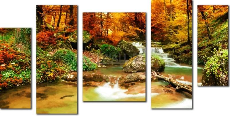 Модульная картина «Осенний поток», 99x50 см, модульная картинаПрирода<br>Модульная картина на натуральном холсте и деревянном подрамнике. Подвес в комплекте. Трехслойная надежная упаковка. Доставим в любую точку России. Вам осталось только повесить картину на стену!<br>