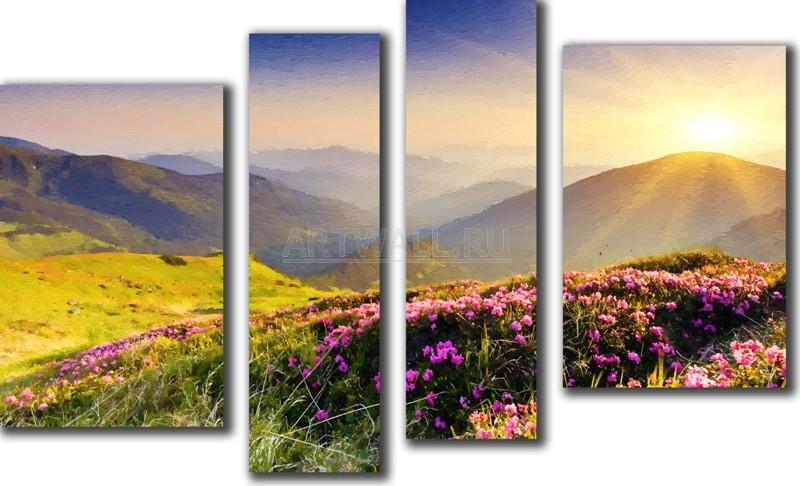 Модульная картина «Горный пейзаж»Природа<br>Модульная картина на натуральном холсте и деревянном подрамнике. Подвес в комплекте. Трехслойная надежная упаковка. Доставим в любую точку России. Вам осталось только повесить картину на стену!<br>
