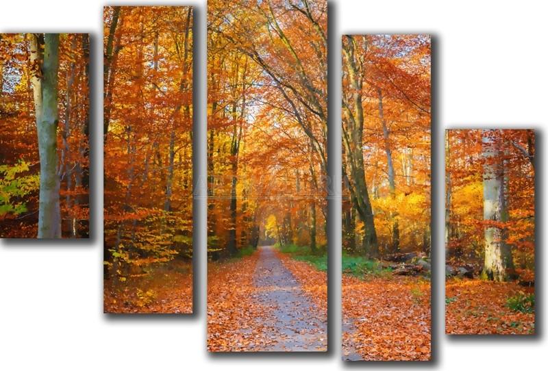 Модульная картина «Парк осенью»Природа<br>Модульная картина на натуральном холсте и деревянном подрамнике. Подвес в комплекте. Трехслойная надежная упаковка. Доставим в любую точку России. Вам осталось только повесить картину на стену!<br>