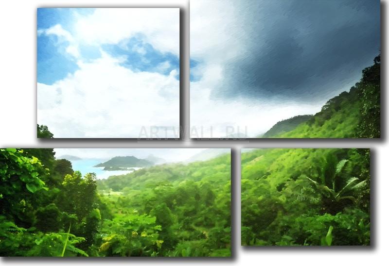 Модульная картина «Вид с острова»Природа<br>Модульная картина на натуральном холсте и деревянном подрамнике. Подвес в комплекте. Трехслойная надежная упаковка. Доставим в любую точку России. Вам осталось только повесить картину на стену!<br>