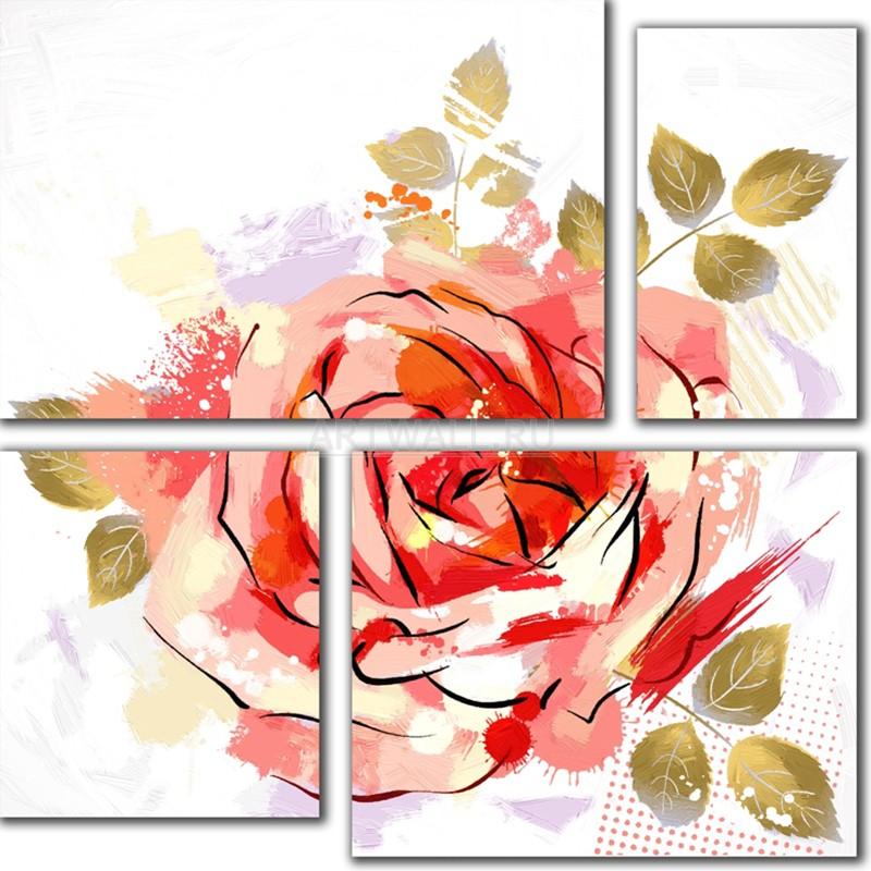 Модульная картина «Розовая композиция»Цветы<br>Модульная картина на натуральном холсте и деревянном подрамнике. Подвес в комплекте. Трехслойная надежная упаковка. Доставим в любую точку России. Вам осталось только повесить картину на стену!<br>