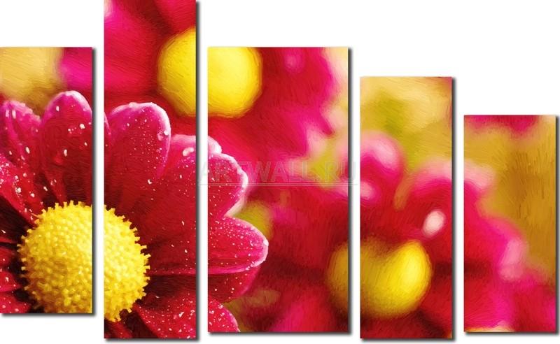 Модульная картина «Цветочная композиция из пяти частей»Цветы<br>Модульная картина на натуральном холсте и деревянном подрамнике. Подвес в комплекте. Трехслойная надежная упаковка. Доставим в любую точку России. Вам осталось только повесить картину на стену!<br>