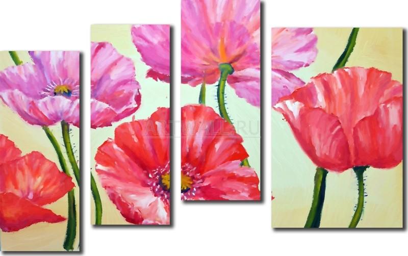 Модульная картина «Красные и розовые маки»Цветы<br>Модульная картина на натуральном холсте и деревянном подрамнике. Подвес в комплекте. Трехслойная надежная упаковка. Доставим в любую точку России. Вам осталось только повесить картину на стену!<br>