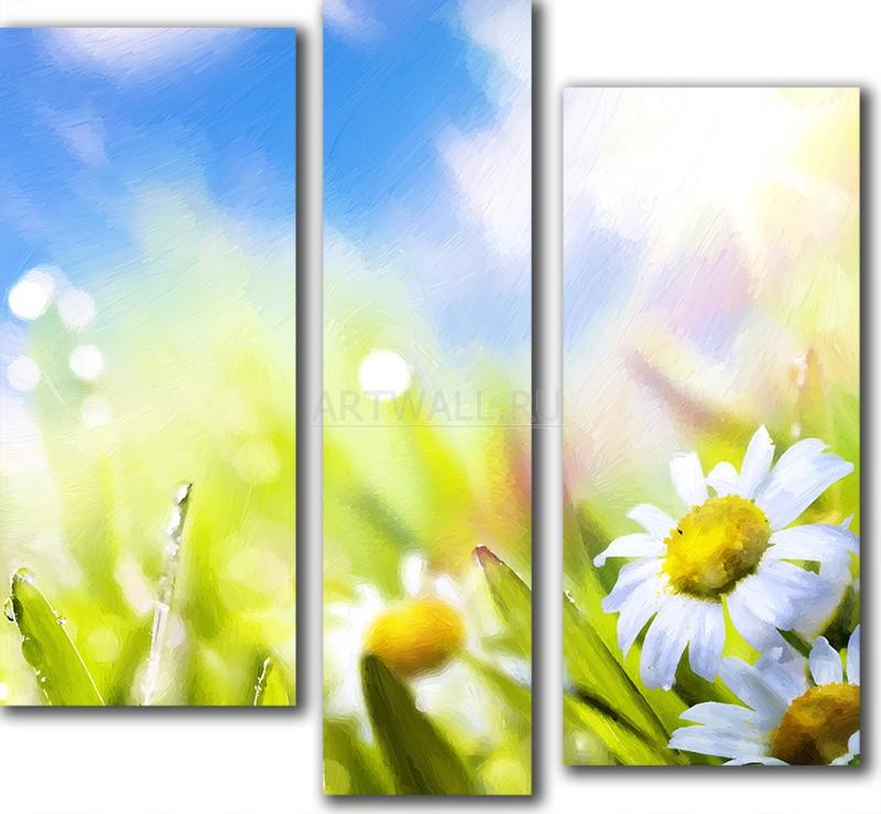 Модульная картина «Солнце манит»Цветы<br>Модульная картина на натуральном холсте и деревянном подрамнике. Подвес в комплекте. Трехслойная надежная упаковка. Доставим в любую точку России. Вам осталось только повесить картину на стену!<br>