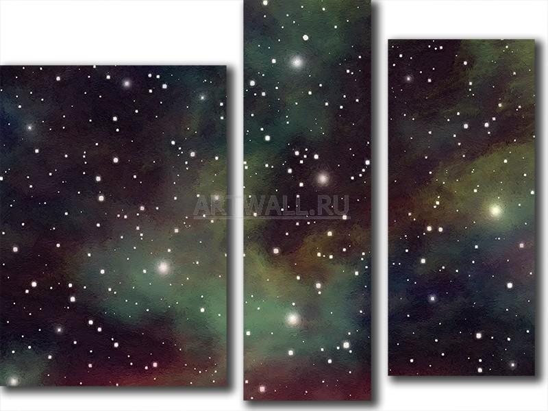 Модульная картина «Яркие звезды»Космос<br>Модульная картина на натуральном холсте и деревянном подрамнике. Подвес в комплекте. Трехслойная надежная упаковка. Доставим в любую точку России. Вам осталось только повесить картину на стену!<br>
