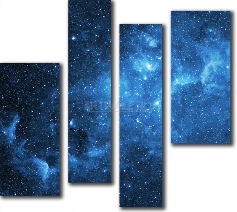 Модульная картина «Созвездия»Космос<br>Модульная картина на натуральном холсте и деревянном подрамнике. Подвес в комплекте. Трехслойная надежная упаковка. Доставим в любую точку России. Вам осталось только повесить картину на стену!<br>