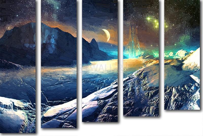 Модульная картина «Космический пейзаж»Космос<br>Модульная картина на натуральном холсте и деревянном подрамнике. Подвес в комплекте. Трехслойная надежная упаковка. Доставим в любую точку России. Вам осталось только повесить картину на стену!<br>