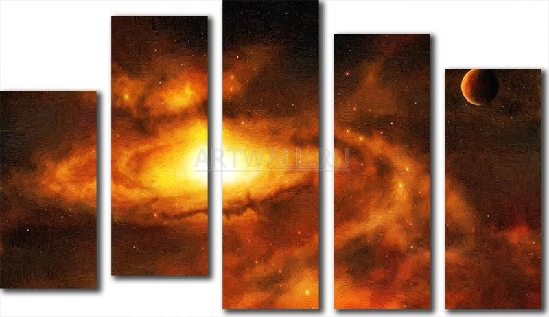 Модульная картина «Космос»Космос<br>Модульная картина на натуральном холсте и деревянном подрамнике. Подвес в комплекте. Трехслойная надежная упаковка. Доставим в любую точку России. Вам осталось только повесить картину на стену!<br>