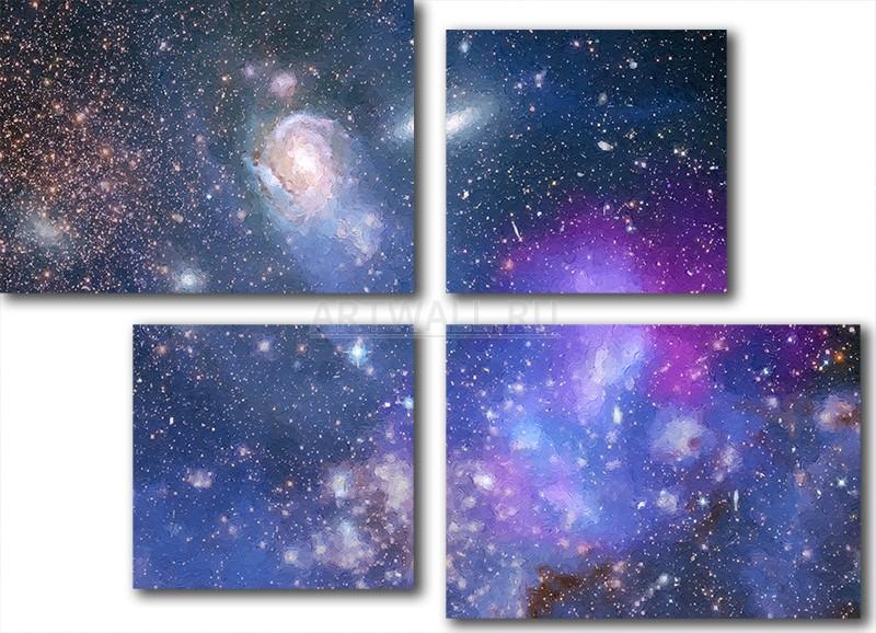 Модульная картина «Звездное небо»Космос<br>Модульная картина на натуральном холсте и деревянном подрамнике. Подвес в комплекте. Трехслойная надежная упаковка. Доставим в любую точку России. Вам осталось только повесить картину на стену!<br>