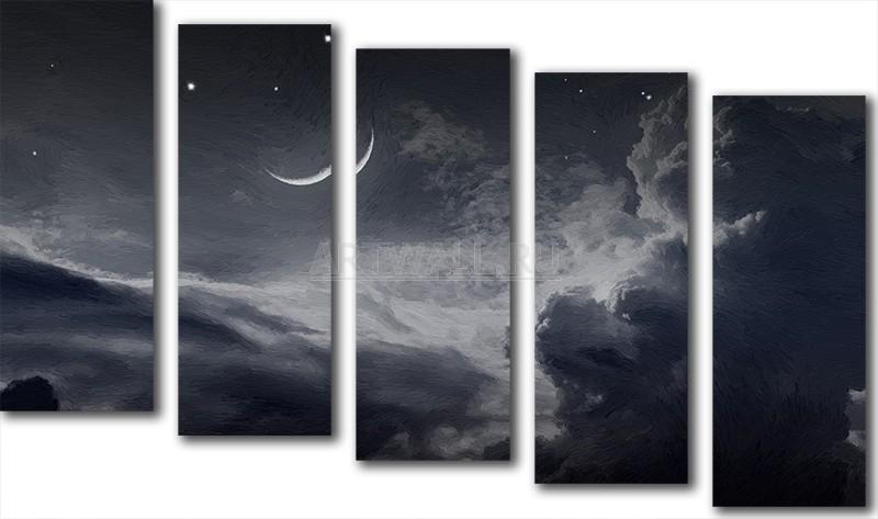 Модульная картина «Черно-белое небо»Космос<br>Модульная картина на натуральном холсте и деревянном подрамнике. Подвес в комплекте. Трехслойная надежная упаковка. Доставим в любую точку России. Вам осталось только повесить картину на стену!<br>
