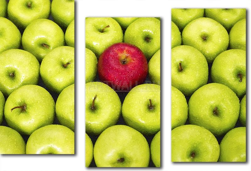 Модульная картина «Красное яблоко»Фрукты<br>Модульная картина на натуральном холсте и деревянном подрамнике. Подвес в комплекте. Трехслойная надежная упаковка. Доставим в любую точку России. Вам осталось только повесить картину на стену!<br>