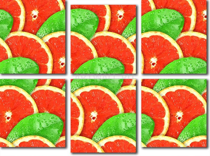 Модульная картина «Грейпфрутовый орнамент»Фрукты<br>Модульная картина на натуральном холсте и деревянном подрамнике. Подвес в комплекте. Трехслойная надежная упаковка. Доставим в любую точку России. Вам осталось только повесить картину на стену!<br>