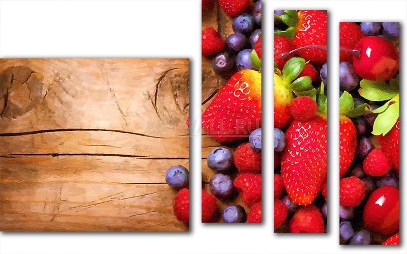 Модульная картина «Натюрморт с ягодами»Фрукты<br>Модульная картина на натуральном холсте и деревянном подрамнике. Подвес в комплекте. Трехслойная надежная упаковка. Доставим в любую точку России. Вам осталось только повесить картину на стену!<br>