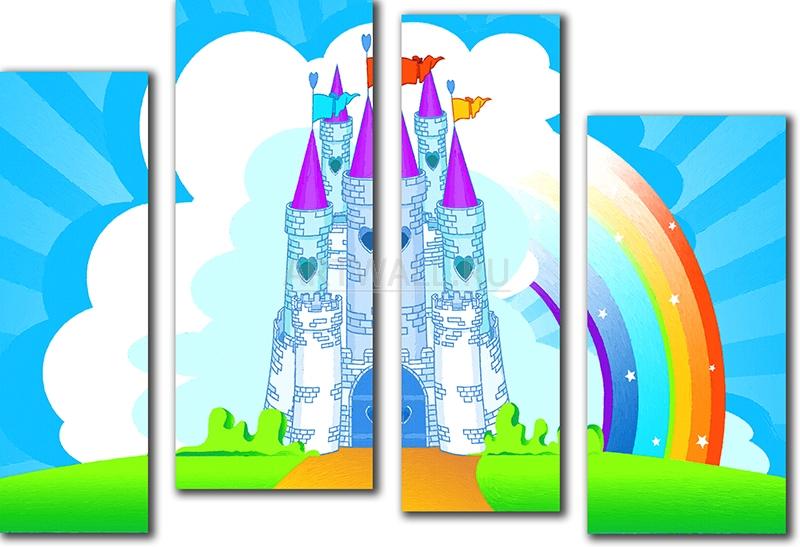 Модульная картина «Радужный замок»Детские<br>Модульная картина на натуральном холсте и деревянном подрамнике. Подвес в комплекте. Трехслойная надежная упаковка. Доставим в любую точку России. Вам осталось только повесить картину на стену!<br>