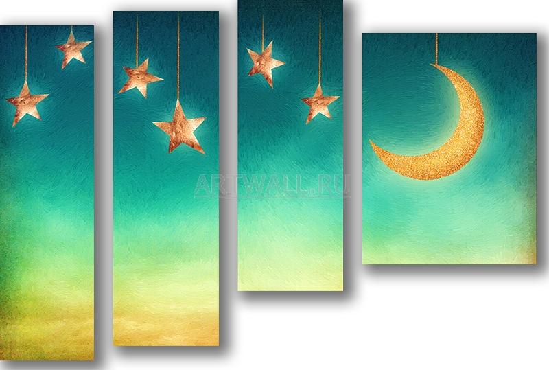 Модульная картина «Ночное небо»Детские<br>Модульная картина на натуральном холсте и деревянном подрамнике. Подвес в комплекте. Трехслойная надежная упаковка. Доставим в любую точку России. Вам осталось только повесить картину на стену!<br>