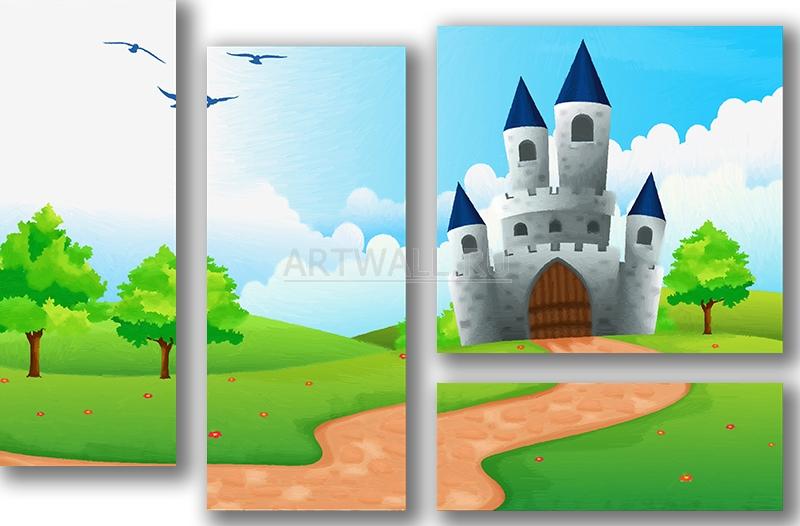 Модульная картина «Дорога к замку»Детские<br>Модульная картина на натуральном холсте и деревянном подрамнике. Подвес в комплекте. Трехслойная надежная упаковка. Доставим в любую точку России. Вам осталось только повесить картину на стену!<br>