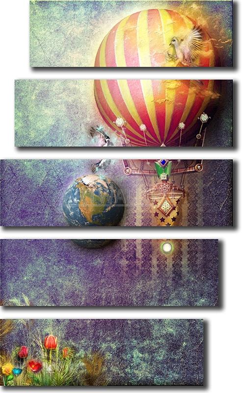 Модульная картина «Ретро воздушный шар»Детские<br>Модульная картина на натуральном холсте и деревянном подрамнике. Подвес в комплекте. Трехслойная надежная упаковка. Доставим в любую точку России. Вам осталось только повесить картину на стену!<br>