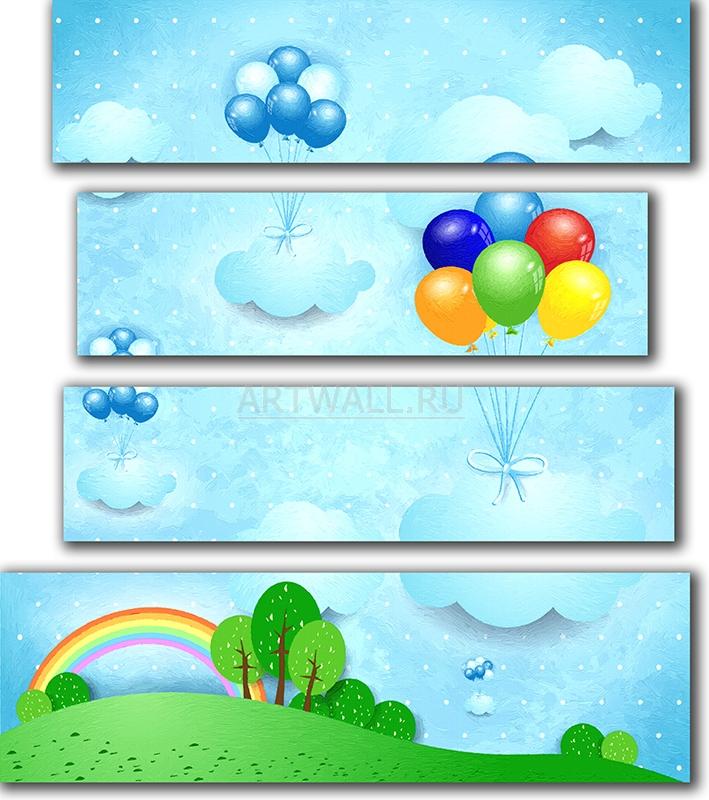 Модульная картина «Воздушные шары»Детские<br>Модульная картина на натуральном холсте и деревянном подрамнике. Подвес в комплекте. Трехслойная надежная упаковка. Доставим в любую точку России. Вам осталось только повесить картину на стену!<br>