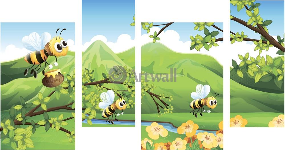 Модульная картина «Пчелки»Детские<br>Модульная картина на натуральном холсте и деревянном подрамнике. Подвес в комплекте. Трехслойная надежная упаковка. Доставим в любую точку России. Вам осталось только повесить картину на стену!<br>