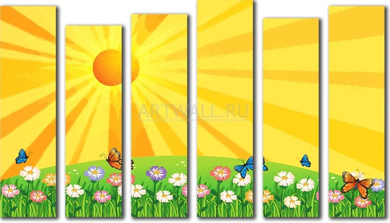Модульная картина «Солнечный луг»Детские<br>Модульная картина на натуральном холсте и деревянном подрамнике. Подвес в комплекте. Трехслойная надежная упаковка. Доставим в любую точку России. Вам осталось только повесить картину на стену!<br>