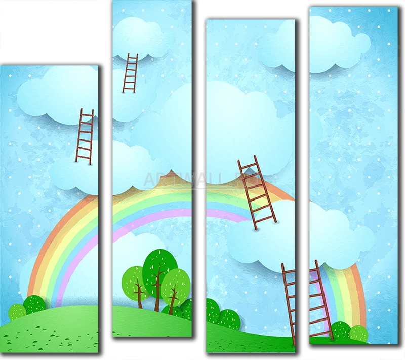Модульная картина «Лесенки в небо»Детские<br>Модульная картина на натуральном холсте и деревянном подрамнике. Подвес в комплекте. Трехслойная надежная упаковка. Доставим в любую точку России. Вам осталось только повесить картину на стену!<br>
