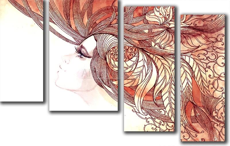 Модульная картина «Жар-птица»Люди<br>Модульная картина на натуральном холсте и деревянном подрамнике. Подвес в комплекте. Трехслойная надежная упаковка. Доставим в любую точку России. Вам осталось только повесить картину на стену!<br>