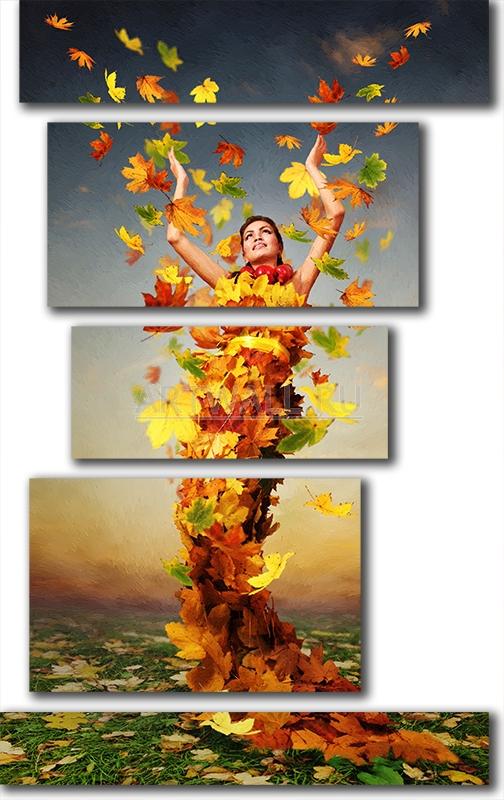 Модульная картина «Осенняя натура»Люди<br>Модульная картина на натуральном холсте и деревянном подрамнике. Подвес в комплекте. Трехслойная надежная упаковка. Доставим в любую точку России. Вам осталось только повесить картину на стену!<br>