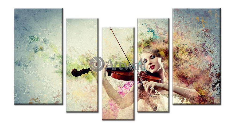 Модульная картина «Поэзия скрипки»Люди<br>Модульная картина на натуральном холсте и деревянном подрамнике. Подвес в комплекте. Трехслойная надежная упаковка. Доставим в любую точку России. Вам осталось только повесить картину на стену!<br>