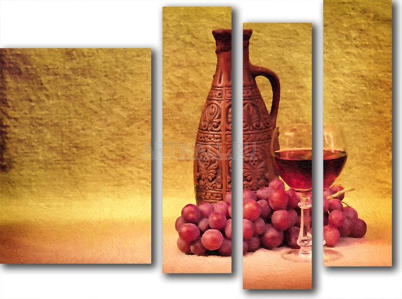 Модульная картина «Натюрморт с кувшином красного вина»Натюрморт<br>Модульная картина на натуральном холсте и деревянном подрамнике. Подвес в комплекте. Трехслойная надежная упаковка. Доставим в любую точку России. Вам осталось только повесить картину на стену!<br>