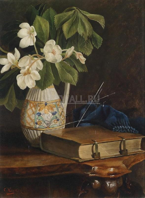 Цветы, картина Хейден Кристиан, Натюрморт с цветком и книгойЦветы<br>Репродукция на холсте или бумаге. Любого нужного вам размера. В раме или без. Подвес в комплекте. Трехслойная надежная упаковка. Доставим в любую точку России. Вам осталось только повесить картину на стену!<br>