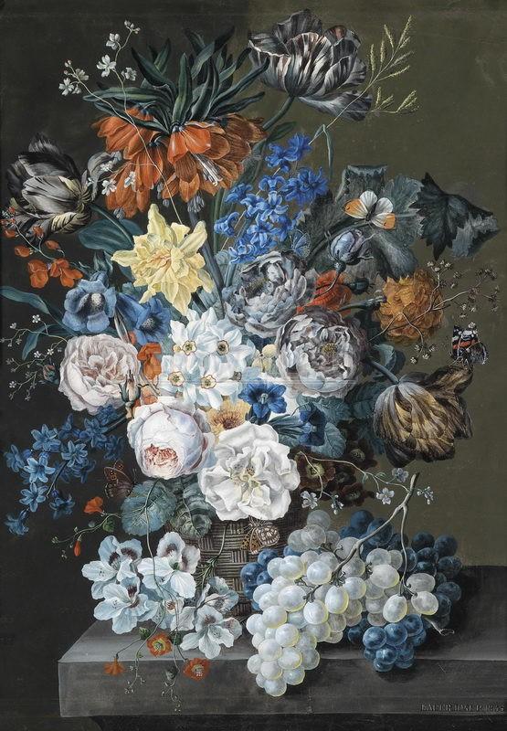 Цветы, картина Лауэр Йозеф, Большой цветочный натюрморт с тюльпанами, розами, нарциссами, гиацинтами, императорскими коронами и горечавкиЦветы<br>Репродукция на холсте или бумаге. Любого нужного вам размера. В раме или без. Подвес в комплекте. Трехслойная надежная упаковка. Доставим в любую точку России. Вам осталось только повесить картину на стену!<br>
