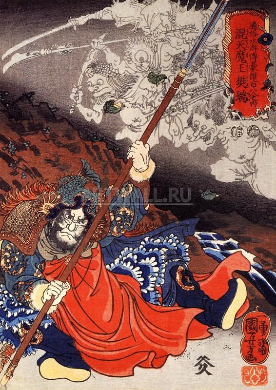Японская гравюра Куниёси Утагава, Гравюра 28212Репродукция на холсте или бумаге. Любого нужного вам размера. В раме или без. Подвес в комплекте. Трехслойная надежная упаковка. Доставим в любую точку России. Вам осталось только повесить картину на стену!<br>