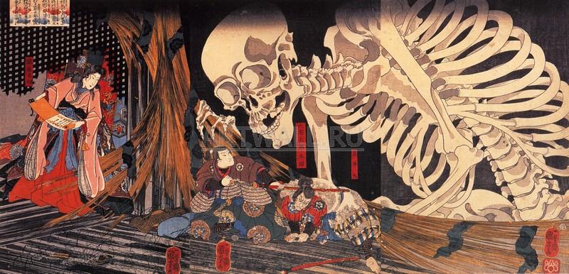 Японская гравюра Куниёси Утагава, Митсукини бросает вызов скелетуКуниёси Утагава<br>Репродукция на холсте или бумаге. Любого нужного вам размера. В раме или без. Подвес в комплекте. Трехслойная надежная упаковка. Доставим в любую точку России. Вам осталось только повесить картину на стену!<br>