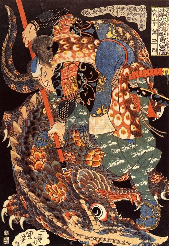 Японская гравюра Куниёси Утагава, Миямото Мусаси убил гигантаКуниёси Утагава<br>Репродукция на холсте или бумаге. Любого нужного вам размера. В раме или без. Подвес в комплекте. Трехслойная надежная упаковка. Доставим в любую точку России. Вам осталось только повесить картину на стену!<br>