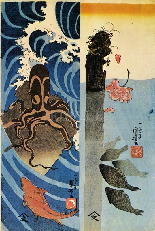 Японская гравюра Куниёси Утагава, Осьминог красная рыбаКуниёси Утагава<br>Репродукция на холсте или бумаге. Любого нужного вам размера. В раме или без. Подвес в комплекте. Трехслойная надежная упаковка. Доставим в любую точку России. Вам осталось только повесить картину на стену!<br>