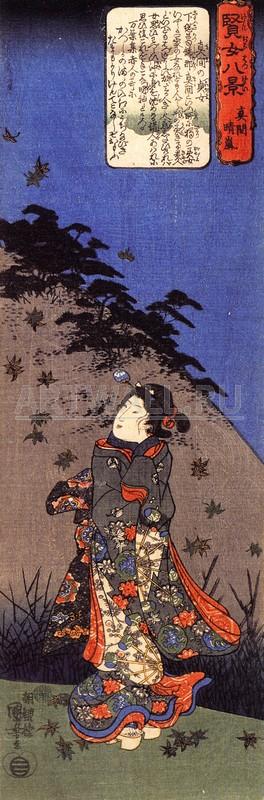 Японская гравюра Куниёси Утагава, Целомудренные женщины из КацусикаКуниёси Утагава<br>Репродукция на холсте или бумаге. Любого нужного вам размера. В раме или без. Подвес в комплекте. Трехслойная надежная упаковка. Доставим в любую точку России. Вам осталось только повесить картину на стену!<br>