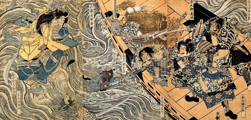 Японская гравюра Куниёси Утагава, Призрак Тайра ТомомориКуниёси Утагава<br>Репродукция на холсте или бумаге. Любого нужного вам размера. В раме или без. Подвес в комплекте. Трехслойная надежная упаковка. Доставим в любую точку России. Вам осталось только повесить картину на стену!<br>