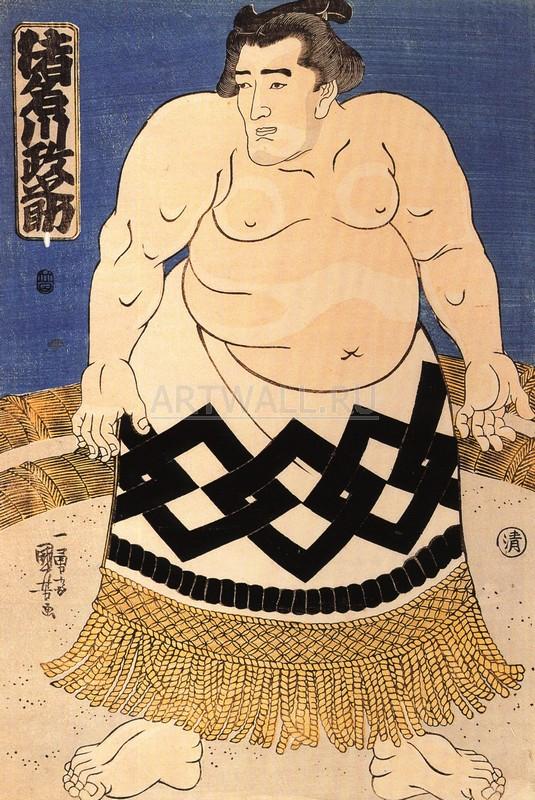 Японская гравюра Куниёси Утагава, СумоКуниёси Утагава<br>Репродукция на холсте или бумаге. Любого нужного вам размера. В раме или без. Подвес в комплекте. Трехслойная надежная упаковка. Доставим в любую точку России. Вам осталось только повесить картину на стену!<br>