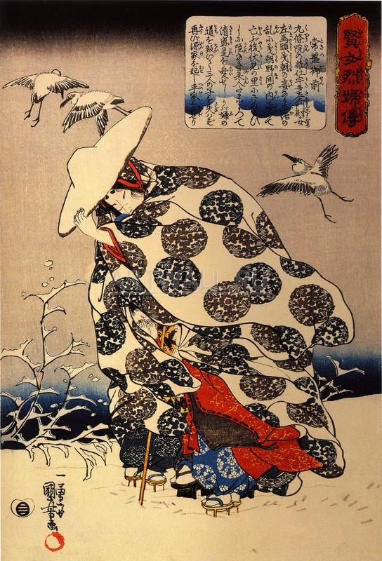 Японская гравюра Куниёси Утагава, Токива Гойзен с тремя детьми в снегуКуниёси Утагава<br>Репродукция на холсте или бумаге. Любого нужного вам размера. В раме или без. Подвес в комплекте. Трехслойная надежная упаковка. Доставим в любую точку России. Вам осталось только повесить картину на стену!<br>