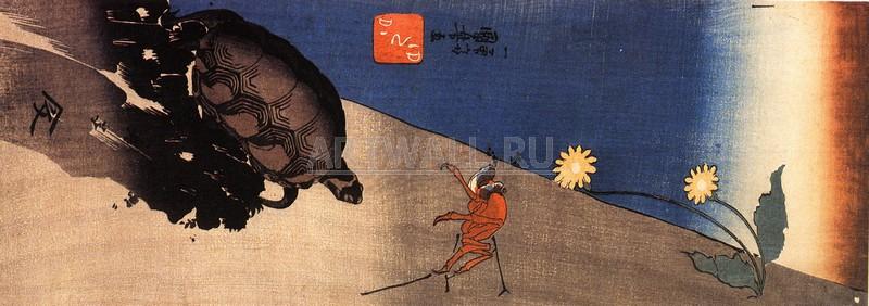 Японская гравюра Куниёси Утагава, Черепаха и крабКуниёси Утагава<br>Репродукция на холсте или бумаге. Любого нужного вам размера. В раме или без. Подвес в комплекте. Трехслойная надежная упаковка. Доставим в любую точку России. Вам осталось только повесить картину на стену!<br>