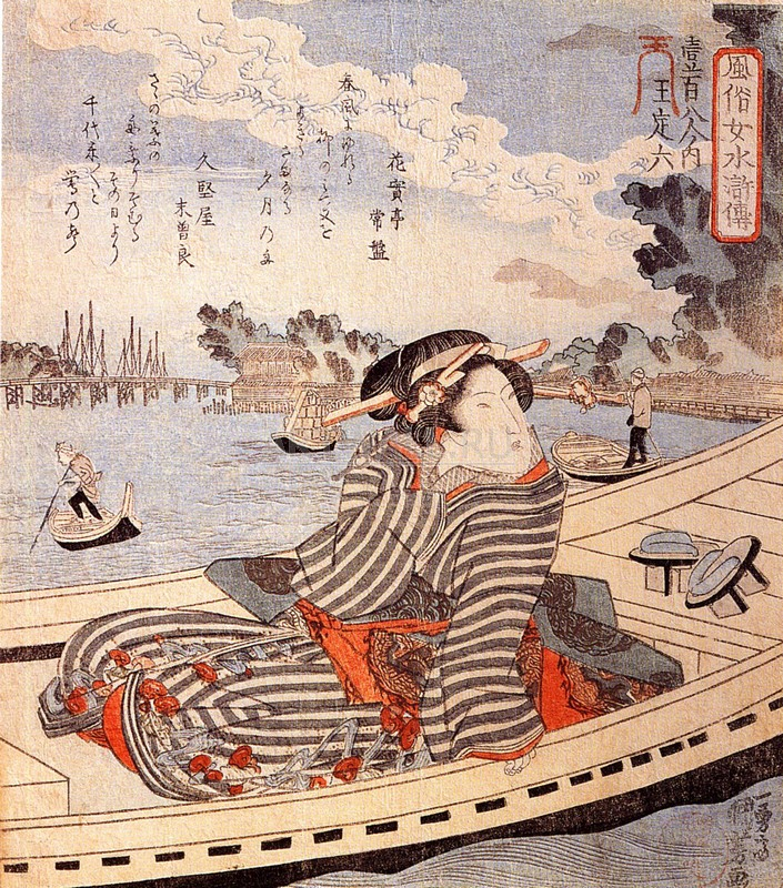 Японская гравюра Куниёси Утагава, Женщина в лодке на реке СумидаКуниёси Утагава<br>Репродукция на холсте или бумаге. Любого нужного вам размера. В раме или без. Подвес в комплекте. Трехслойная надежная упаковка. Доставим в любую точку России. Вам осталось только повесить картину на стену!<br>