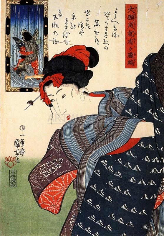 Японская гравюра Куниёси Утагава, ЖенщинаКуниёси Утагава<br>Репродукция на холсте или бумаге. Любого нужного вам размера. В раме или без. Подвес в комплекте. Трехслойная надежная упаковка. Доставим в любую точку России. Вам осталось только повесить картину на стену!<br>