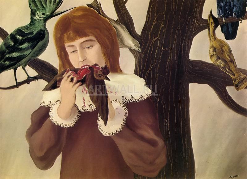 Магритт Рене, картина Удовольствие - девушка, поедающая птицуМагритт Рене<br>Репродукция на холсте или бумаге. Любого нужного вам размера. В раме или без. Подвес в комплекте. Трехслойная надежная упаковка. Доставим в любую точку России. Вам осталось только повесить картину на стену!<br>