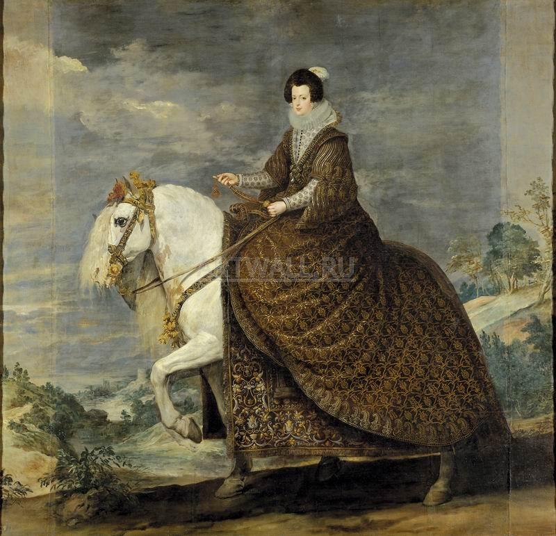 Веласкес Диего, картина Конный портрет королевы Изабеллы де Бурбон, супруги Филиппа IVВеласкес Диего<br>Репродукция на холсте или бумаге. Любого нужного вам размера. В раме или без. Подвес в комплекте. Трехслойная надежная упаковка. Доставим в любую точку России. Вам осталось только повесить картину на стену!<br>
