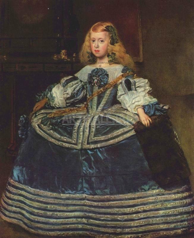 Веласкес Диего, картина Портрет Марии Терезы, принцессы Испании в голубом платьеВеласкес Диего<br>Репродукция на холсте или бумаге. Любого нужного вам размера. В раме или без. Подвес в комплекте. Трехслойная надежная упаковка. Доставим в любую точку России. Вам осталось только повесить картину на стену!<br>