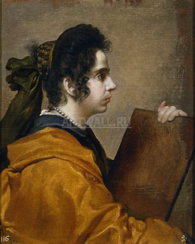 Веласкес Диего, картина Портрет Хуаны Пачеко, жены художника, в образе СивиллыВеласкес Диего<br>Репродукция на холсте или бумаге. Любого нужного вам размера. В раме или без. Подвес в комплекте. Трехслойная надежная упаковка. Доставим в любую точку России. Вам осталось только повесить картину на стену!<br>